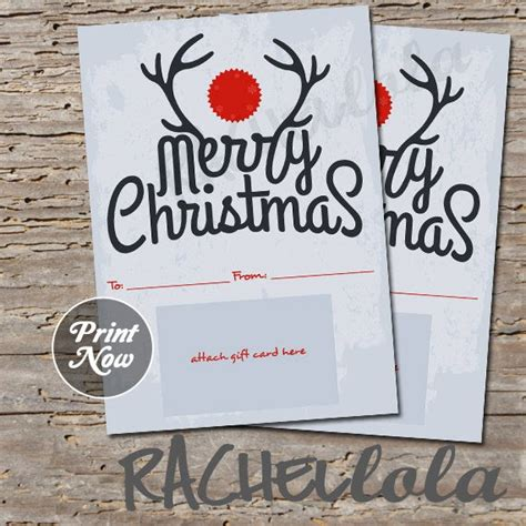 items similar  printable christmas gift card holder antler merry christmas digital instant