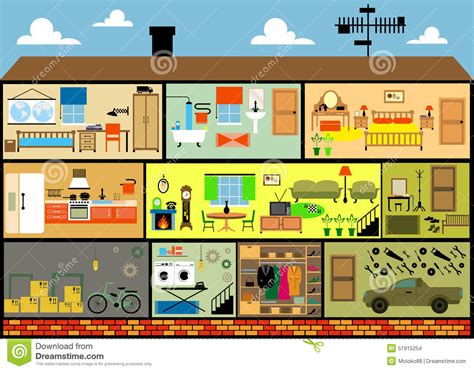 house interior cartoon cartoon family house stock vector illustration of front 51915254
