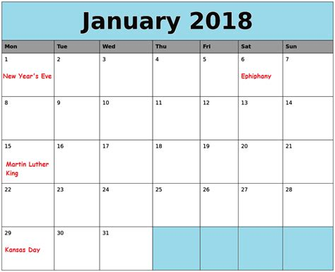 printable calendar 2018 with us holidays january us holidays 2018 calendar free printable
