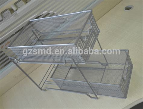 sliding wire baskets for kitchen cabinets kitchen 2 tiers mesh storage cabinet buy