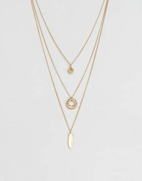 Asos Open Shapes Multirow Necklace jewellery necklaces bracelets earrings watches asos