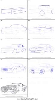 How To Draw A Blueprint How To Draw A 1968 Mustang Printable Step By Step Drawing