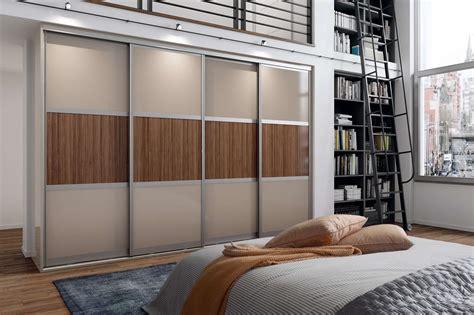 beige macassar high gloss aluminium frame  panel sliding wardrobe eco bradford kitchens