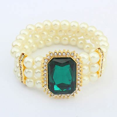 Gelang Korea Gemstone Multilayer Black memorial green square gemstone decorated pearl multilayer