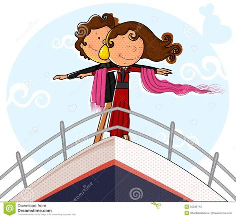 titanic boat pose love couple on ship deck in romantic pose stock vector