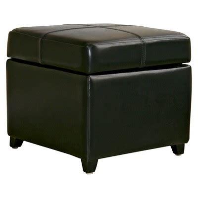 target black ottoman full leather storage cube ottoman black baxton studio