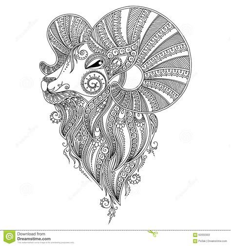 pattern for coloring book ram s head stock vector
