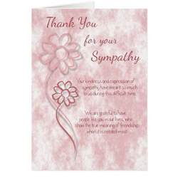 thank you for your sympathy pink sketched flowers card
