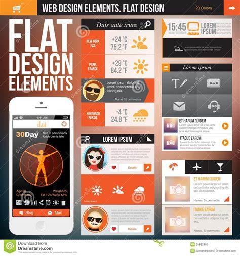 design elements for apps flat web design stock photo image 35832880