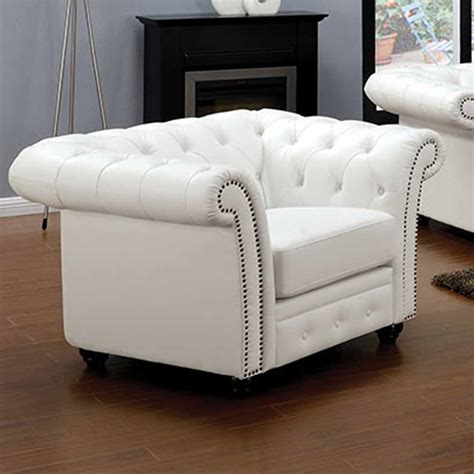 Camden Elegant Sofa Loveseat Chair Set White Bonded Tufted Nailhead Sofa