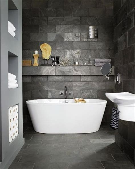 Grey And White Bathroom Tile Ideas by 40 Grey Slate Bathroom Floor Tiles Ideas And Pictures
