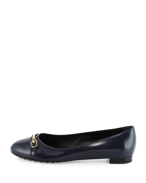 Flat Shoes Tods 4706 tod s horsebit leather ballet flats in blue lyst