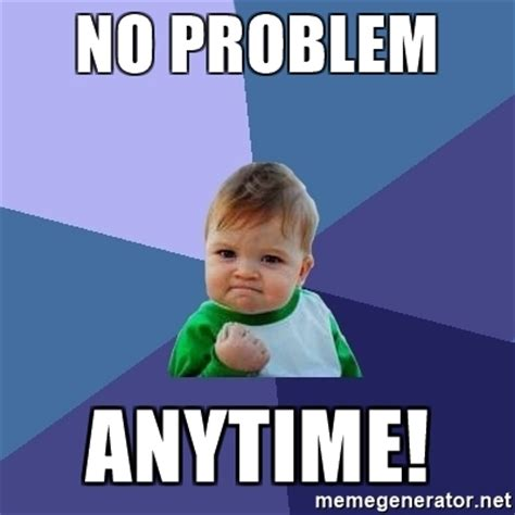 No Problem Meme - no problem anytime success kid meme generator