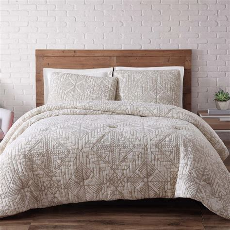 king cotton comforter brooklyn loom sand washed cotton king comforter set in white sand cs1778wskg 1500 the home depot