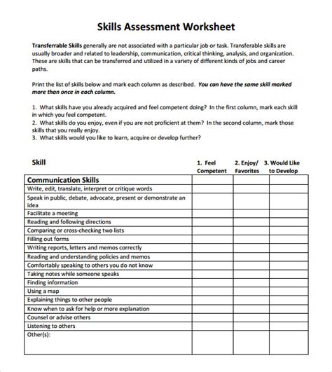 8 Sle Skills Assessment Templates To Download For Free Sle Templates Excel Skills Assessment Template