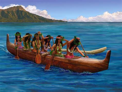 airbnb boats hawaii wahine hawaiian canoe paddlers painting by stephen jorgensen