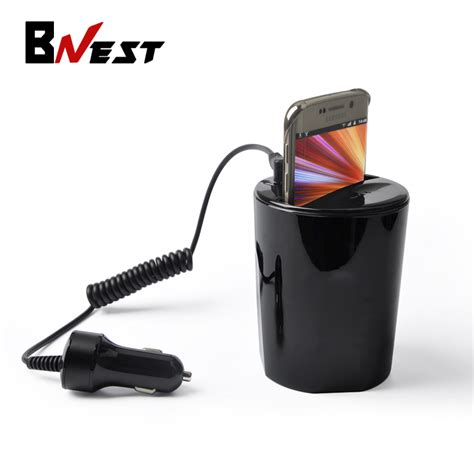 Wireless Qi Charger For Samsung S6 Hitam bnest qi wireless car charger usb power cup holder charger for samsung galaxy s6 s6 edge s7