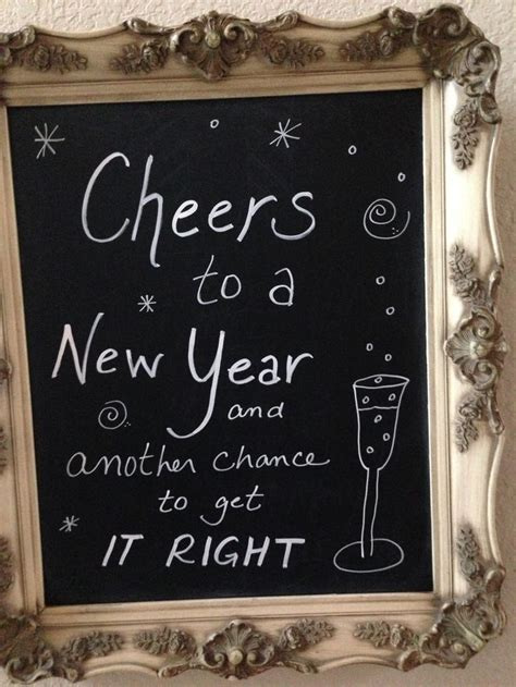 new years sign in gold frame and on chalkboard paint