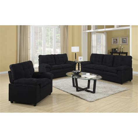 Buchannan Microfiber 3 Piece Living Room Set Walmart Com Living Room Sets Walmart