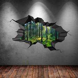 full wall mural decals full colour woods forest trees jungle cracked 3d wall art