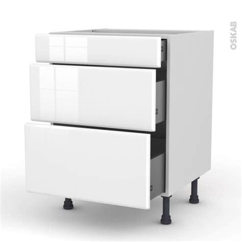 meuble casserolier 3 tiroirs l60xh70xp58 iris blanc oskab