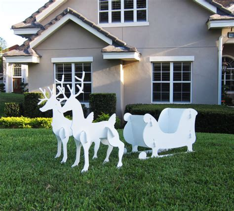 christmas outdoor santa sleigh and 2 reindeer set ebay