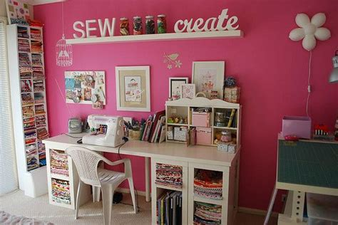 pink craft room pink sewing room using ikea furniture my craft corner pin