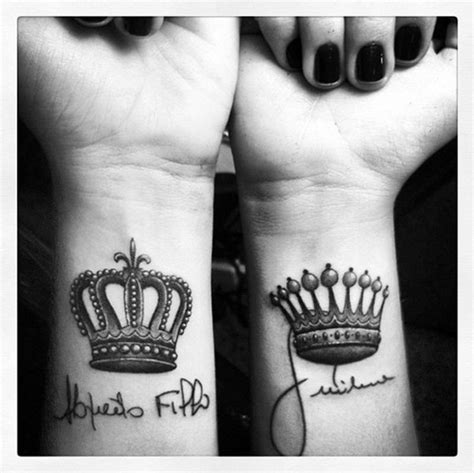 crown couple tattoo meaning 45 cute king and queen tattoo for couples buzz 2018