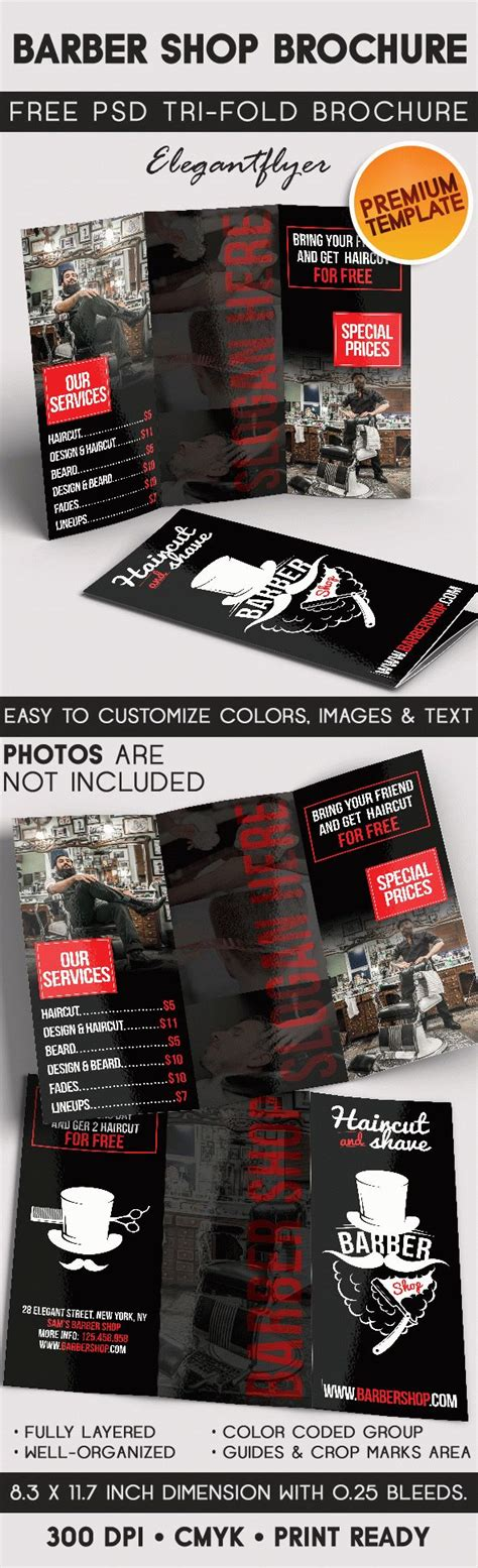 3d Brochure Templates Psd by Barber Shop Tri Fold Brochure Psd Template By Elegantflyer