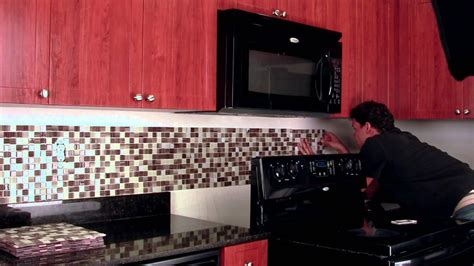 Red Kitchen Tile Backsplash by Do It Yourself Backsplash Peel Amp Stick Tile Kit Youtube