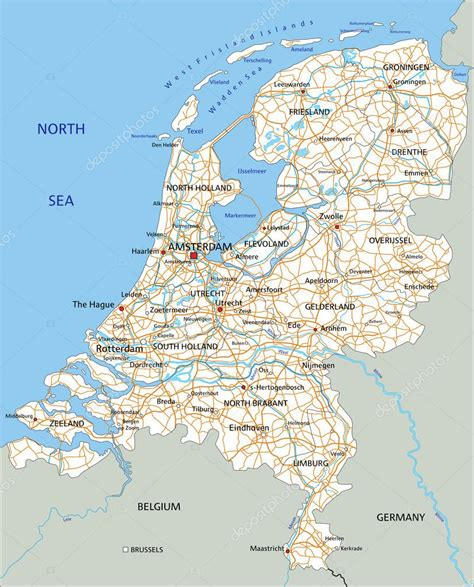 netherlands driving map netherlands road map with labeling stock vector