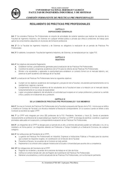 Modelo Curriculum Vitae Practicas Pre Profesionales Reglamento De Practicas Pre Profesionales By Fiis Unheval Issuu