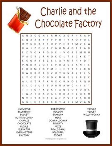printable word search chocolate charlie and the chocolate factory word search puzzle