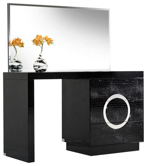 Bedroom Vanity With Mirror a amp x ovidius modern black crocodile vanity table amp mirror