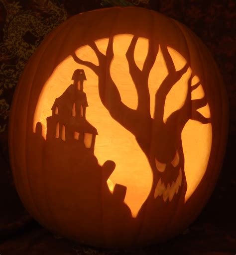 spooky tree pumpkin template haunted house spooky tree pumpkin light version by johwee