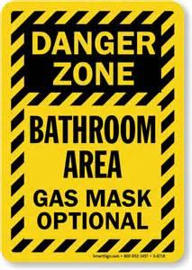 Bathroom Hazard Zones Danger Zone Bathroom Area Gas Mask Optional Sign Sku S 8718