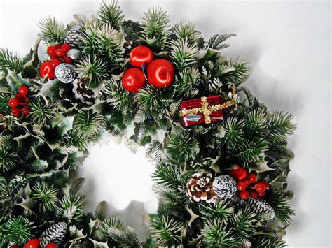 vintage faux evergreen christmas wreath 18 inch 1960s