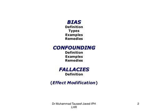 design bias meaning bias confounding and fallacies in epidemiology