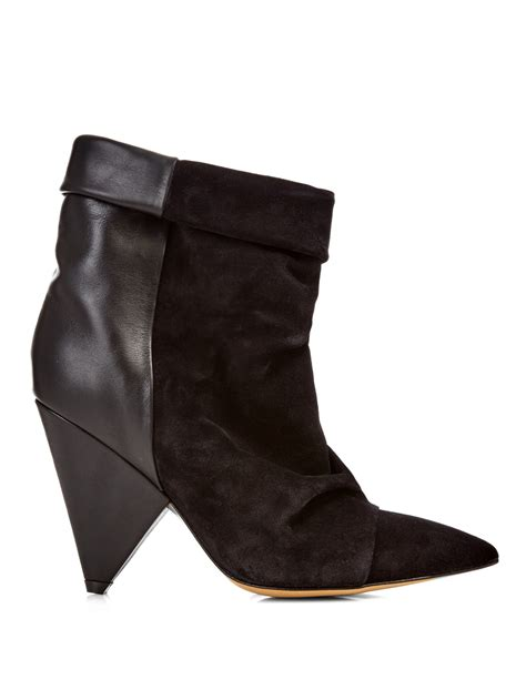 marant andrew leather and suede ankle boots in