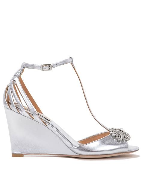 badgley mischka milly ii metallic wedge evening shoes in