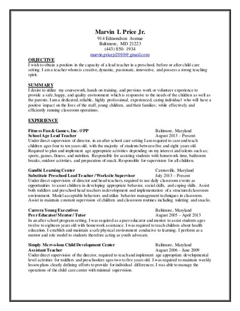 daycare resume sle child care resume 2014