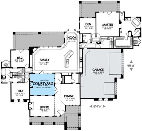 style house plans with interior courtyard interior courtyard