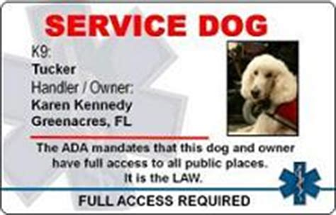 service animal id card template working service service pvc id card