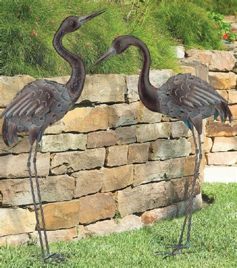Bird Statues Garden Decor Bronze Crane Pair Metal Garden Statues Mystical Bird Yard Heron Sculpture