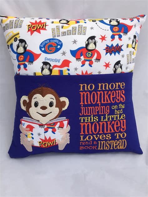 Pillow With Embroider S pillow reading pillow book pocket childs reading pocket pillow monkey fabric 16 in pillow