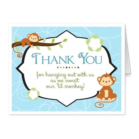 Monkey Baby Shower Thank You Cards baby shower thank you cards folded thank you notes jungle