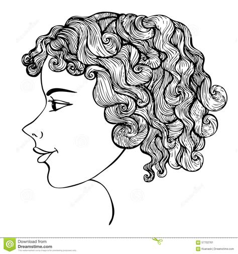doodle hair vector with curly hair ink drawing stock vector image
