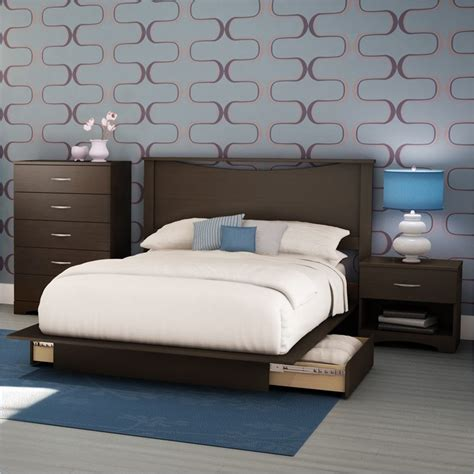 Monaco Platform Bed Bedroom Set Chocolate Queen Bedroom Sets | south shore back bay modern 4 piece queen platform storage