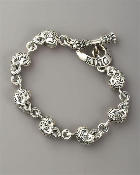 King Baby Studio Day Of The Dead Skull Bracelet in Silver for Men   Lyst