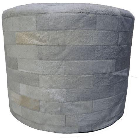 cowhide ottoman round white round cowhide ottoman 24 inch